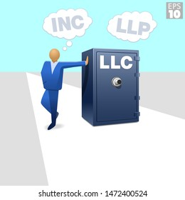 A entrepreneur thinking about liability protection from business obligations such as corporations, LLP's and LLC's, resting his hand on a limited liability company vault or safe.