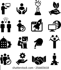 Entrepreneurial and business start-up icons.