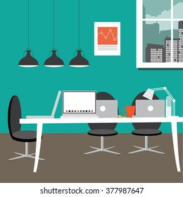 Entrepreneurial workspace in flat design style. EPS 10 vector.