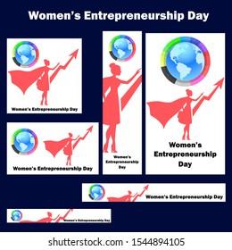 Women's Entrepreneurship Day on November 19. Vector illustration. Web banner design template. Vector set, header image.