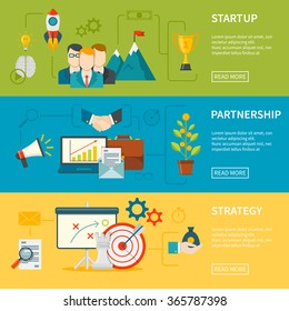 Entrepreneurship flat horizontal banners set of startup strategy and partnership vector illustration