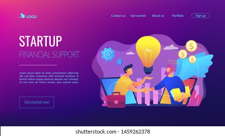 Entrepreneurship funding, initiative investment, idea financing. Angel investor, startup financial support, business professionals help concept. Website homepage landing web page template.
