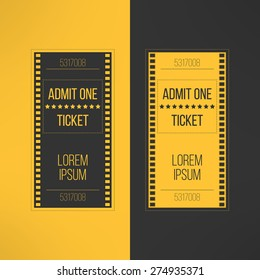 Entry cinema ticket in film footage style. Admit one movie event invitation. Pass icon for online tickets booking. Vector illustration