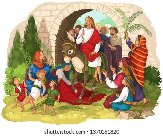 Entry of Our Lord into Jerusalem (Palm Sunday). Jesus Christ riding a donkey. Crowds welcome him with palm fronds, spread clothes before him. Also available coloring book version
