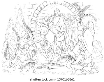 Entry of Our Lord into Jerusalem (Palm Sunday) coloring page. Jesus Christ riding a donkey. Crowds welcome him with palm fronds, spread clothes before him. Also available colored version.