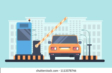 Entry through the barrier which is raised to pass the car. Automobile back view. Toll gate with reception booth. Checkpoint to residential area. Vector illustration. City on background.