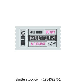 Entry ticket to museum isolated entry card. Vector invitation on excursion or exhibition, admit one to museum, mention of date and price. Voucher access to history museum, single entry