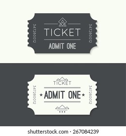 Entry ticket to old vintage style. hipster logo. Admit one.