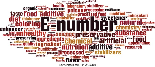 E-number word cloud concept. Collage made of words about E-number. Vector illustration