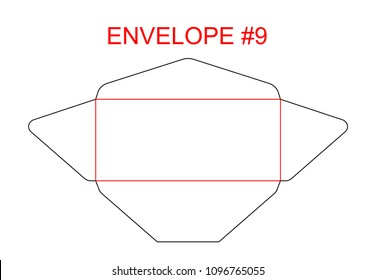 Commercial flap envelope c 5 size die stock vector royalty free envelope 9 die cut template of north american usa format regular universal wallet accmission Choice Image