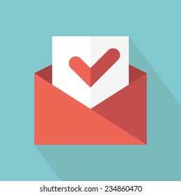 Envelope with accept sign. Check message icon. Vector illustration. Flat style with long shadow