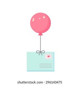 envelope  air balloon red vector