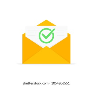 Envelope with approved document icon. E-mail confirmation. Open envelope with a document. New letter. Flat design, vector illustration on background