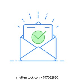 Envelope with approved document thin line icon. Vector illustration of e-mail confirmation. Open envelope with a document. New letter. Sending correspondence. Flat illustration isolated on background.