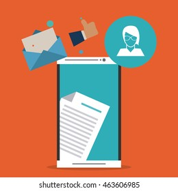 Envelope avatar smartphone email message mail icon. Flat and Colorfull illustration. Vector graphic
