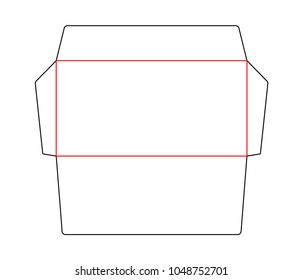 Envelope blank die cut template standard DL size. Stamp. Vector black isolated circuit envelope.