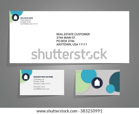 envelope business card layout real estate stock vector royalty free