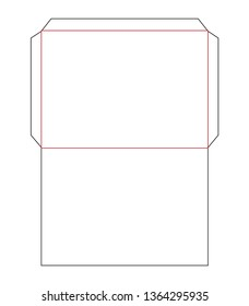 The envelope C3 size die cut outline template for A3 documents. Stamp. Vector black isolated circuit envelope. International standard size