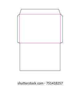 The envelope C4 size die cut template for A4 documents. Stamp. Vector black isolated circuit envelope.