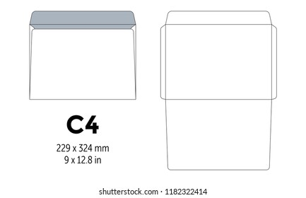 Envelope c4 template for a4, a5 paper with cut lines. Vector illustration