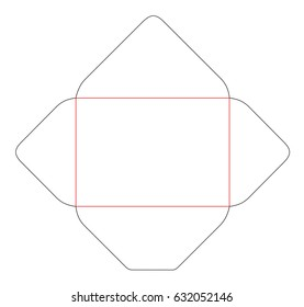 The envelope C6 size die cut template. Stamp. Vector black isolated circuit envelope. International standard size