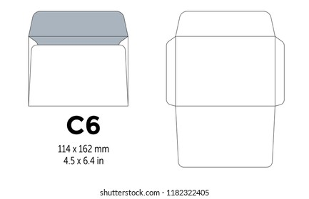 Envelope c6 template for a4, a5 paper with cut lines. Vector illustration