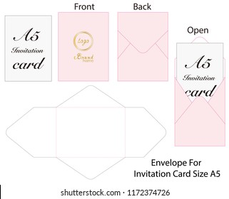 Envelope for card A5 Size die cut mock up
