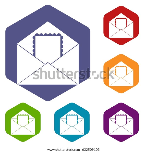Envelope with card icons set hexagon isolated vector illustration