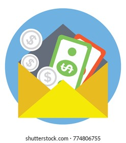 Envelope with cash amount, concept of money cash payment or income