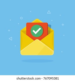 Envelope with checkmark flat vector illustration. Concept of email confirmation or approved document