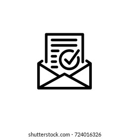 envelope with confirmation letter icon vector