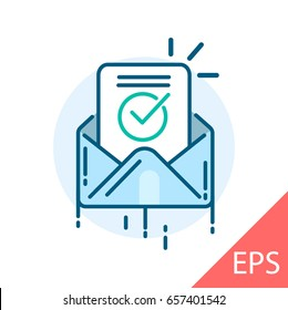 Envelope with confirmation letter. Vector modern line design illustrative icon