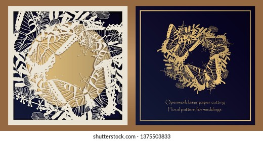 Envelope design, invitations for laser paper cutting. Square pocket with a floral pattern, an openwork frame and a gold-embossed card for wedding, festive, greeting polygraphy.
