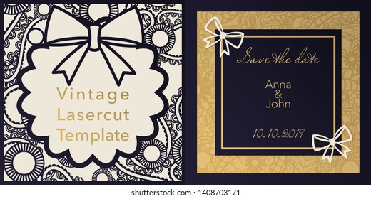 Envelope design, invitations for laser paper cutting. Square pocket with a floral pattern, an openwork frame and gold embossed Greeting card for a wedding, festival, greeting printing.