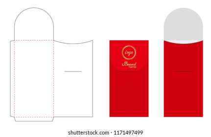 Envelope die cut mock up template vector