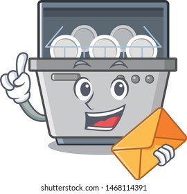 With envelope dishwasher machine isolated in the cartoon