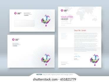 Envelope DL, C5, Letterhead. Corporate business template for envelope and letter. Layout with modern colored spots abstract background. Creative vector
