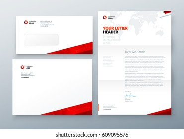Envelope DL, C5, Letterhead. Red Corporate business template for envelope and letter. Layout with modern triangle elements and abstract background. Creative vector concept