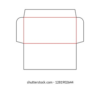 The envelope DL size die cut template.  Vector black isolated circuit envelope. International standard size. Stamp.