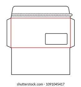 Envelope DL size wallet die cut template with window and tear strip borders, tear-off perforation, zipper rules. Stamp. Vector isolated circuit envelope. International standard size. Die line envelope