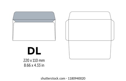 Envelope DL template for a4, a5 paper with cut lines. Vector illustration