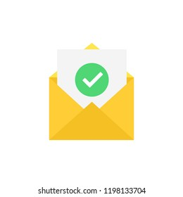 Envelope and document and round green check mark icon. Vector illustration.