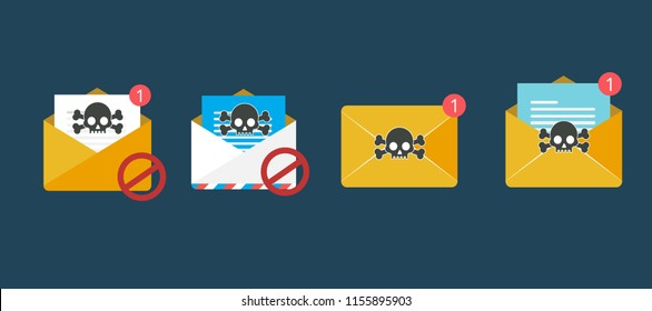envelope with document and skull icon. Virus, malware, email fraud, e-mail spam, phishing scam, hacker attack concept. Trendy flat design graphic