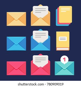 Envelope, email and letter vector icons. Postal correspondence and mms symbols. Letter and correspondence, envelope and postal spam message illustration