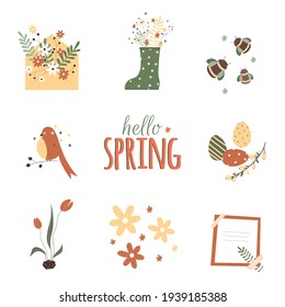 Envelope with flowers, a bird on a branch, a rainbow, Easter eggs and bees in a flat style. Vector stock illustration.. Spring stickers in hand drawn style