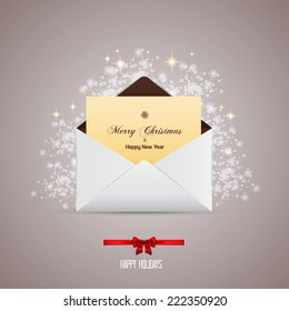 Envelope and greeting card merry christmas. Vector