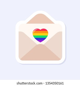 An Envelope with a Heart Letter. LGBTQ+ related symbol in rainbow colors. Gay Pride. Raibow Community Pride Month. Love, Freedom, Support, Peace Symbol. Flat Vector Design Isolated on White Background