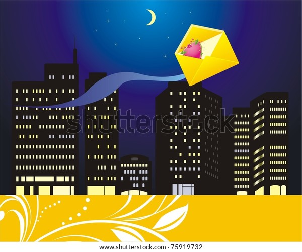 envelope-heart-on-background-night-600w-