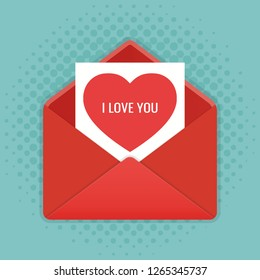 Envelope with heart. Valentines day. Vector illustration.