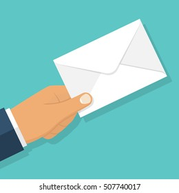 Envelope holding in the hand. Email message concept, sending. Postman gives a letter. Delivery of messages. Vector illustration flat design. Isolated on white background. Email, correspondence.